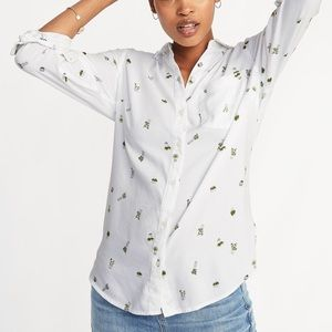 Old Navy white succulent print button down top XL